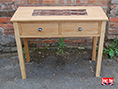 Oak Console Table with Mosaic Inlay