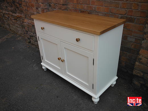 Painted and Oak 2 Door 1 Drawer Cabinet