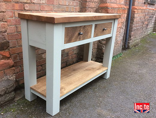 British Made Painted Plank Pine Hall Table