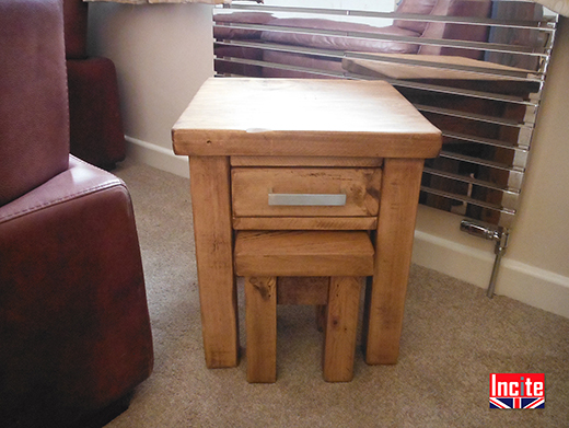Rustic Pine Nest Of Tables With Drawer
