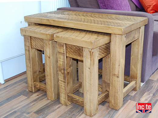 Solid Pine Wide Nest of 3 Tables
