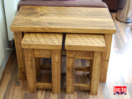 Handmade Chunky Plank Pine Nest Of 3 Tables