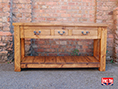 Rustic Plank Pine Console Table with Drawers