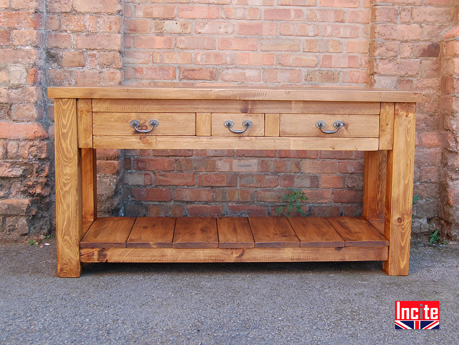 pine console table. Rustic-Plank-PIne-Console-Table-with-Drawers Pine Console Table