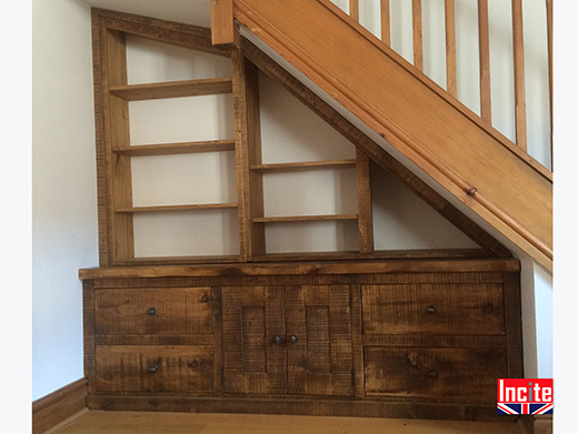 Handmade Under Stairs Fitted Bookcase