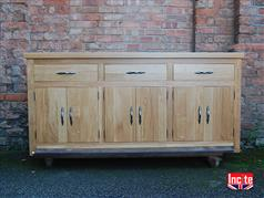 Handmade Bespoke Oak Sideboard with 3 Double Doors and 3 Drawers Above Handmade Bespoke Custom made wooden Furniture By Incite Interiors Derbyshire