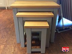 Painted and Oak Nest of 3 Stacking Tables