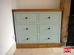 Handmade Custom Painted With Rustic Plank Pine Top Drawer Unit