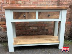 Handmade Painted Chunky Rustic Plank Pine Console table with Drawers