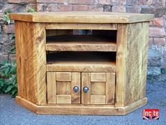 Handmade Rustic Chunky Plank Door Corner TV Unit