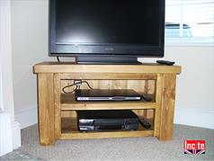 Handmade Chunky Plank Open Corner TV Media Unit