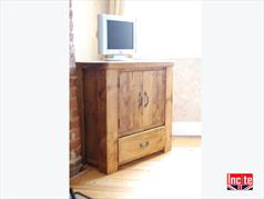 Plank Pine TV Media Unit With 2 Tongue & Groove Doors and Drawer