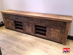 Rustic Plank Pine Sideboard  with Wine Rack