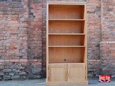 Oak Bookcase with a 2 Door Cupboard