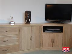 Bespoke Oak TV Media Units Custom Made to order to your size requirements by Incite Interiors Draycott Derbyshire at Competitive Prices