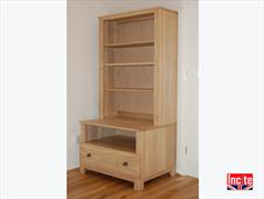 Solid Oak Television Media Storage Bookcase