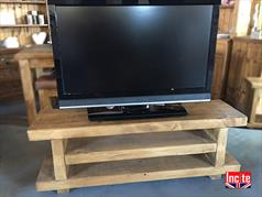 Solid Plank Open Beam TV Bench