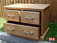 Oak 2 over 2 Bedside Cabinet