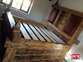 Hand Carved Rustic Pine Bed with Drawers