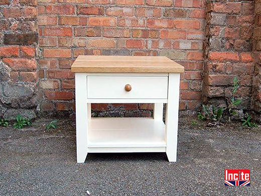 Painted With Oak Top Side Table