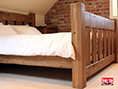 Rustic Oak Slat Bed Natural Waxed