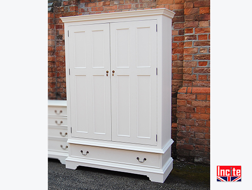 Bespoke Painted Double Wardrobe With Drawer