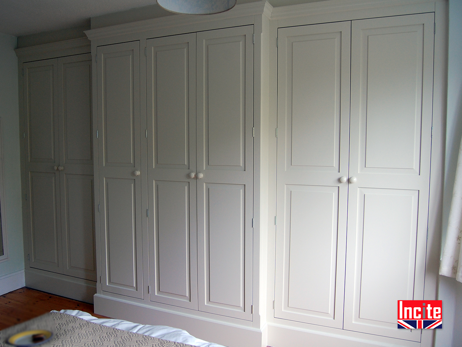 Custom Derbyshire Made Painted Fitted Breakfront Wardrobe