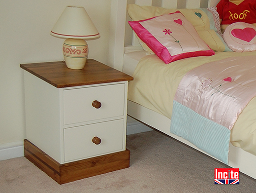 Painted And Solid Pine Bedside Cabinet