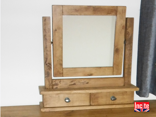 Bespoke Plank Pine Dressing Table Mirror