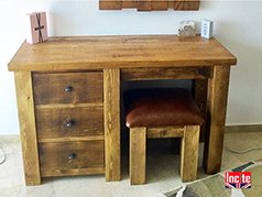 Wooden Handmade Single Pedestal Dressing Table