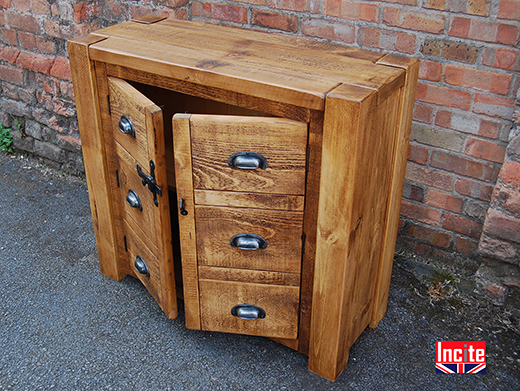 Rustic Pine Mock Drawer Front Cabinet