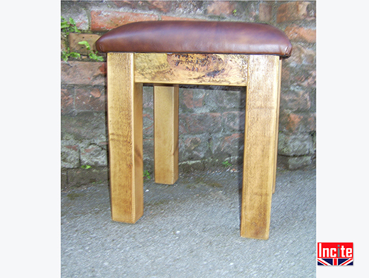 Rustic Pine Stool with Leather Seat