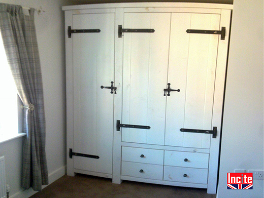 Whitewashed Wood Combination Wardrobe