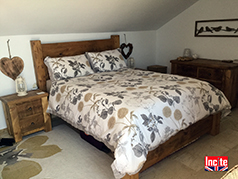 Rustic Chunky Plank Bed with Low Foot End