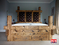 Rustic Plank Pine Drawer Bed Buttoned Headboard