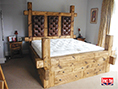 Rustic Plank Drawer Bed Buttoned Headboard