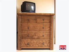 British Rustic Oak Chest Of Drawers
