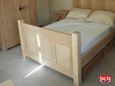 Natural Oak Panelled Bed