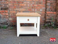 Handmade Painted Lamp Table With Oak Top
