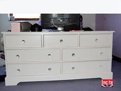 Painted White Chest Of Drawers With Lead Crystal Drawer Knobs