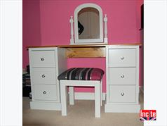 Handmade Painted Wooden Dressing Table, Mirror & Stool