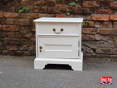 Handmade White Painted squat bedside cabinet