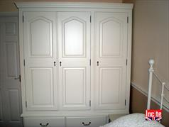 Painted Triple Wardrobe with Three Integral Drawers handmade