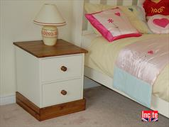 Handmade Painted And Pine 2 drawer bedside cabinet