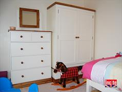 Handmade Painted and Solid Pine Wardrobe with Drawer