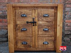 Rustic Chunky Pine Sideboard with Dummy Drawer front Doors