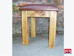 Handmade Wooden Stool with Leather Seat