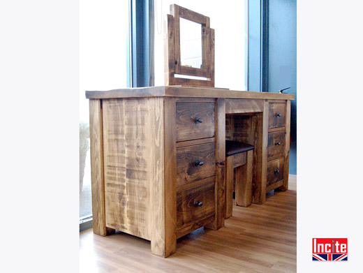 Solid Plank Pine Dressing Table with Mirror