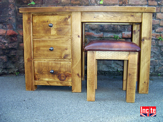 Rustic Pine Single Pedestal Dressing Table