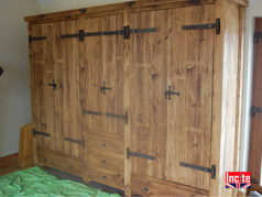Rustic Plank Wardrobes and Drawer Combination